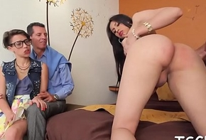 Shemale rides one-eyed beast and cums