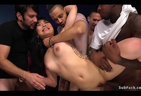 Grotesque Asian gangbanged down theater