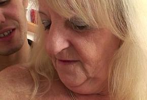 Festival granny in the matter of stockings rides stranger'_s weasel words