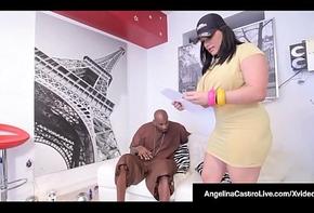 Cubana BBW Angelina Castro Fucks A Broad in the beam Coal-black Cock!